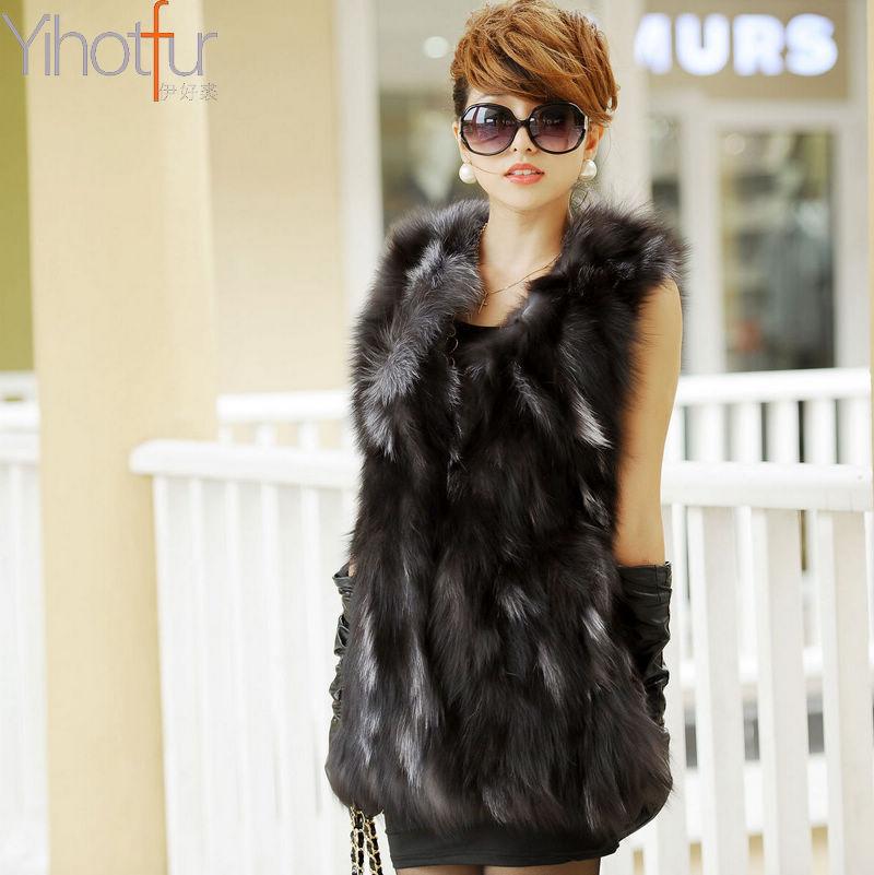 Женская одежда из меха Women Real Silver Fox Fur Vest Fashion Ladies' Winter Waistcoat Garment