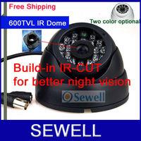 600TVL CMOS IR-cut night vision Color IR Dome Camera, 24LED Indoor surveillance camera, free shipping,drop shipping, 15M IR