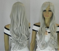 New charming  silver gray long curly cosplay wig