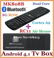 10pcs=5pcs RC11+5pcs MK808B Android 4.2 RK3066 1.6GHz Cortex-A9 RAM 1G/8G Android TV Box Dongle built-in Bluetooth ,EMS/DHL Free
