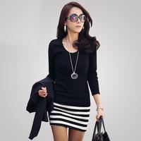 free shipping hot new fashion women's long sleeve stripe long t shirt casual cotton dresses, joker tops blouses for Autumn