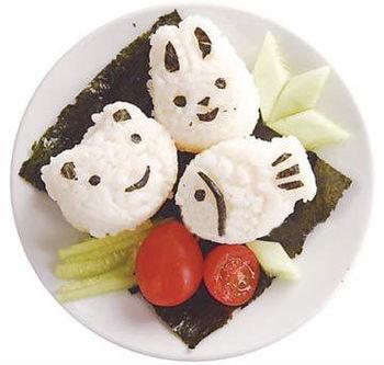 18pcs/lot Egg and rice mold of adorable fish rabbit heart bear car star shapes Sushi Rice Mold free shipping