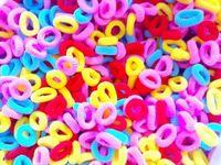 300 pieces Baby girl Kids Hair accessaries Rainbow Hair bands Elastic Ties Ponytail Holder Dark Color