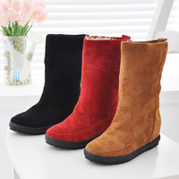 free shipping 2012 women's boots nubuck leather platform elevator ankle boots flat cotton shoes winter snow boots