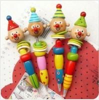 48pcs/lot free shipping  Wooden cartoon clown ball pen,4pcs/set,fashion stationery