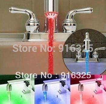 Temperature Sensor 3 Color Glow Shower LED Light Water Faucet Tap