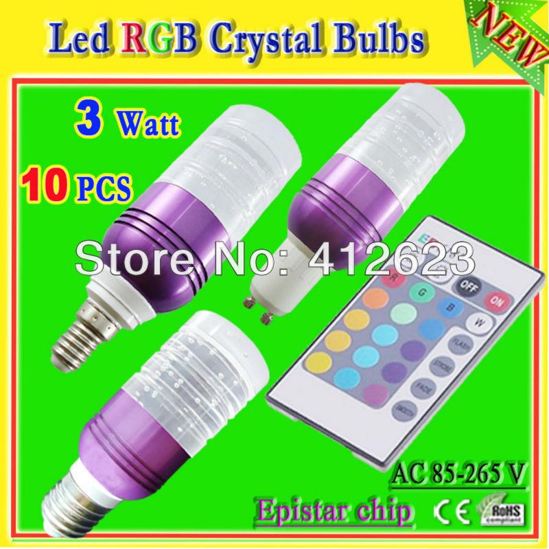 24 key IR remote control RGB crystal led bulb_free shipping 3 watt led light bulb with remote(China (Mainland))