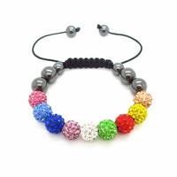Shamballa jewelry New Crystal Shamballa Bracelets Micro Pave CZ Disco Ball Bead, Shamballa Clay Bracelet XB051