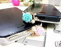 Free Shipping-fashion flower  with diamond simulated-pearl dust plug/shining earphone jack plug-3 color can choose-retial