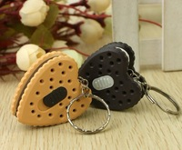 Simulation Love Heart Cookie Mini  Light LED Flashlight  Key Chains Ring Keyrings Free shipping
