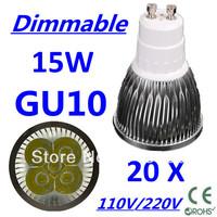 20pcs/lot CREE Dimmable LED High power GU10 5x3W 15W led Light led Lamp led Downlight led bulb spotlight Free FEDEX and DHL