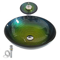 New Free Shipping Colorful Round Tempered glass Vessel Sink With Waterfall Faucet ,Pop - Up drain and Mounting Ring