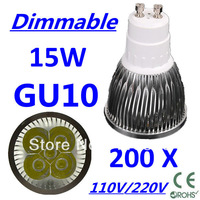 200pcs/lot CREE Dimmable LED High power GU10 5x3W 15W led Light led Lamp led Downlight led bulb spotlight Free FEDEX and DHL