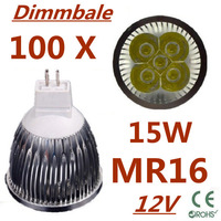 100pcs/lot Dimmable LED High power MR16 5x3W 15W led Light led Lamp led Downlight led bulb spotlight Free shipping