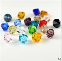 4MM mix color Bicone Crystal Bead Crystal Pendant, glass loose bead,Hole through beads, 1440Pcs/Lot free shipping