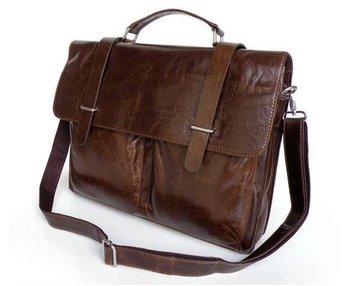 100% Guarantee genuine Vintage Tan Leather Popular Men's Briefcase Laptop Handbag Messenger Bag #5646