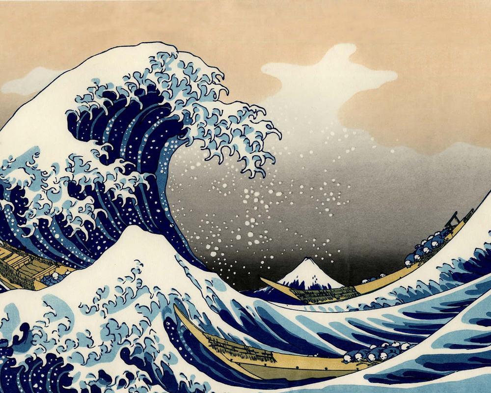 """A grande onda fora de Kanagawa """" por reproduct óleo Katsushika Hokusai grande onda óleo cenário oceano sobre tela artes marinhos para bistrôs(China (Mainland))"""