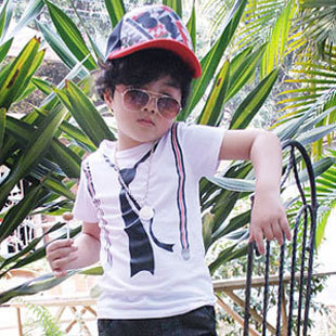 Free Shipping Cool Design Kids Fake Tie and Braces Print Pattern Pullove Boys Tees K0121