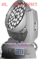 6pcs free shipping zoom 36x4in1x10w led moving head light  touch screen High Quality LED Stage Light