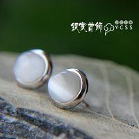 Free Shipping Elegant 925 Pure Silver  White Opal Stud Earrings