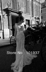 Custom Gorgeous Cheap Deep V-Neck Empire Lace Wedding Gowns Court Train Ivory Long Sleeve Wedding Dresses 2013(China (Mainland))