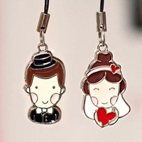 Zakka bestlove mobile phone pendant chain The bride and groom married 2 pcs set free air mail