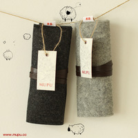 Mupu brief elegant wool felt folding strap pencil case storage bag free air mail