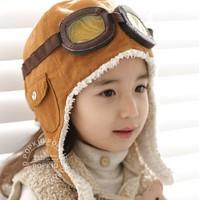 2013 children personality plane cap wholesale new baby in children's hat pilot cap earmuffs cap children hat qiu dong