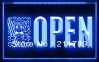 OB031 B OPEN Tiki Bar Mask Beer Pub Club led Light Sign