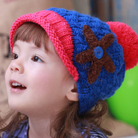 free shipping new Princess autumn and winter knitted hat child  baby pocket hat beanie wholesale