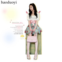 Free shipping Summer new arrival half sleeve twinset dress 2012 sweet chiffon one-piece dress female