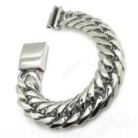 Huge&Heavy Mens Boys Fashion Rhombus Bangle Cowboy Classics Twist Chain Bracelet 316L Stainless Steel Free Shipping