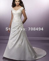Free shipping 100% tailor-made spaghetti strap v neck appliques beaded button back bridal wedding dresses-Perfect Gowns