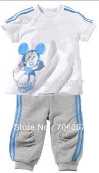 2015 Summer 5sets/lot fashion  baby children short sleeve t-shirts+Pants clothes set cartoon boys girls kids sport suit in stock