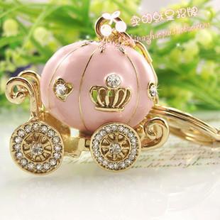 pumpkin cart keychain novelty items cute key ring for women innovative trinket gadget souvenir christmas gift free shipping