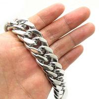 20mm Huge&Heavy Mens Boys Fashion Polishing Bangle Cowboy Classics Bracelet Chain 316L Stainless Steel New Gift Free Shipping