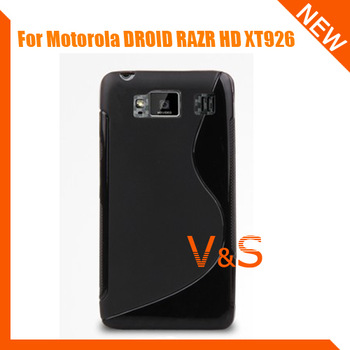 S line wave TPU gel soft case cover For Motorola DROID RAZR HD XT926 Free shipping
