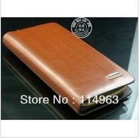 Long design genuine leather male wallet men's personalized japanned leather zipper clutch 2012 cowhide wallet