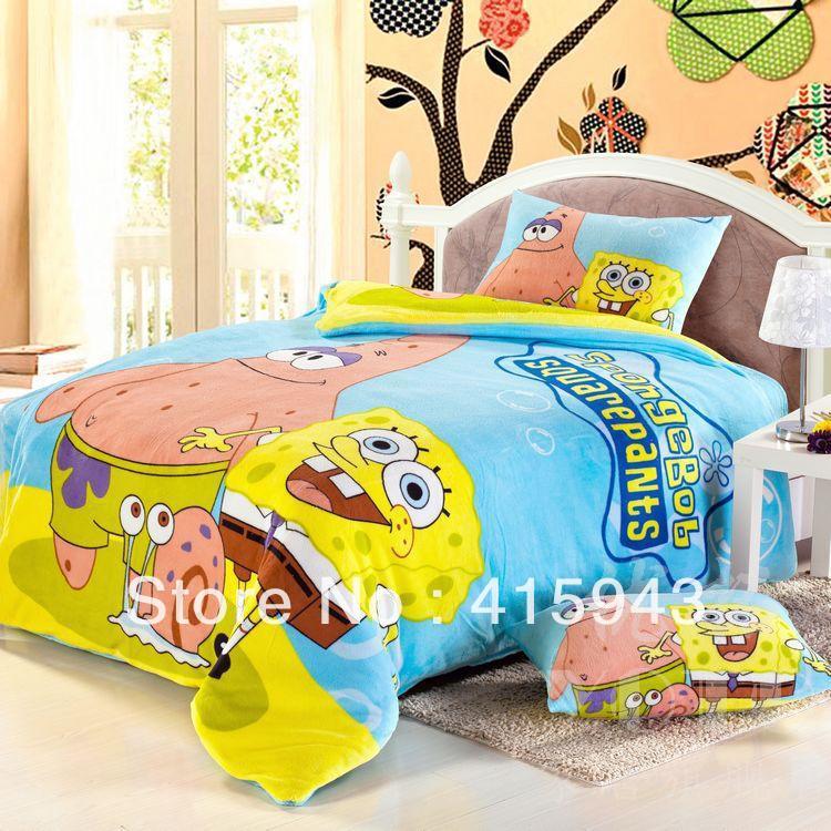 High Quality Boys/spongebob Comforter Set/flannel Bedding/Children Bedding Set/flannel  Bed Sets/flat Sheet/pilolowcase/quilt Cover