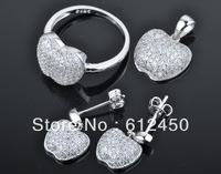 2013 fashion  newest design Wholesale 925 sterling silver Micro Pave zircon crystal jewelry Set: rings &pendant& earring S-18