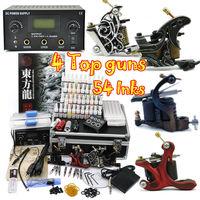 Professional tattoo kit 4pcs Machine Guns Power 40 Color 5ml/bottle tattoos equipment supply  free shipping by DHL