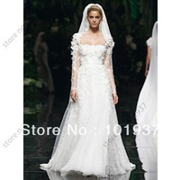 New Ivory A-Line Floor Length Appliques Bridal Gowns Lace Elie Saab Wedding Dresses With Long Sleeves 2013