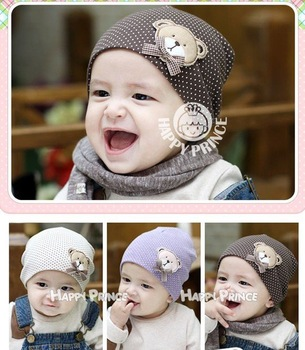 Babys hat, head cap,with cute little bear pattern , babys cotton cap, for baby 0-12M, spring&autumn,Free Shipping[240802]