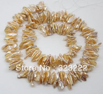 "8mm*10-16mm natural pink keshi freshwater biwa pearl loose strand gem stone 15"" long"