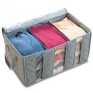 Bamboo charcoal storage box clothes finishing box storage box 65l Visual storage box window 600g