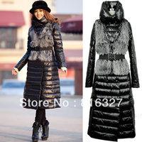 Free Shipping Slim Long Two Ways Down Coat Women Winter Long Coat With Fur