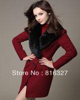 Free Shipping 2013 Winter Women's Fashion Nibbuns Woolen Coat Slim Fur Collar