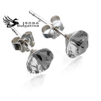 Hot Lovely Cute Full 925 Silver Ear CZ Stud Earrings, Free Shipping
