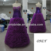 Elegant DropShippinng taffeta beaded tull skirt Purple wedding dress