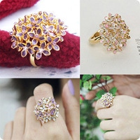 Min.order is $15 (mix order) 4050 accessories star noble elegant four-leaf flower ring adjustable finger ring